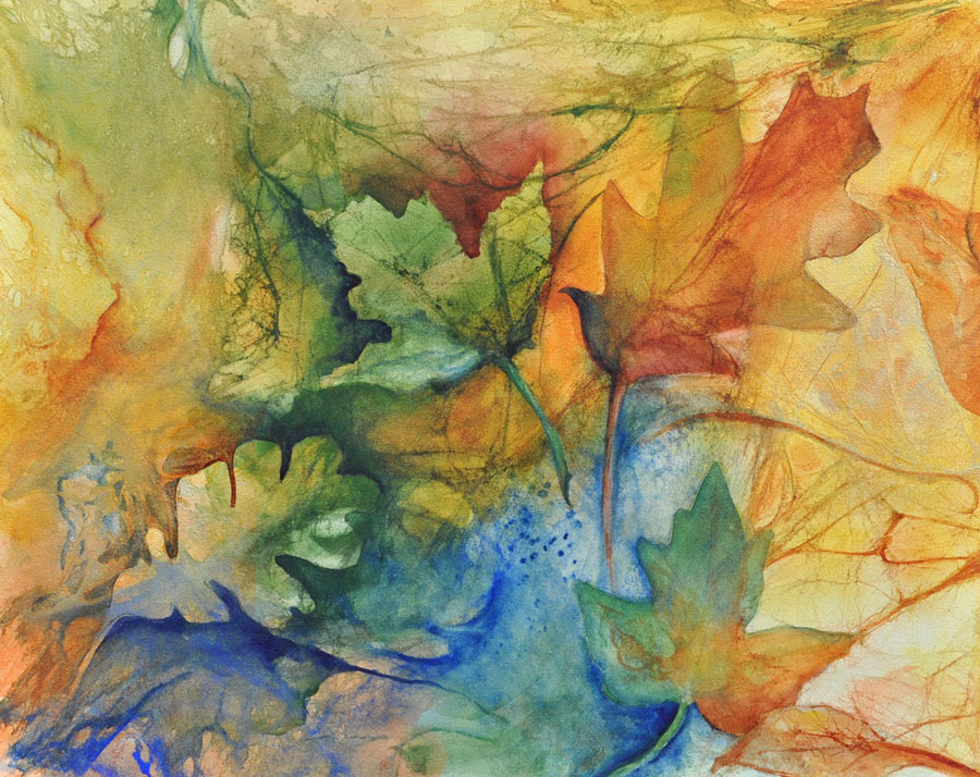 """Autumn's Near"" Original Watercolor on Aquabord--2017 Fall Leaves Workshop"