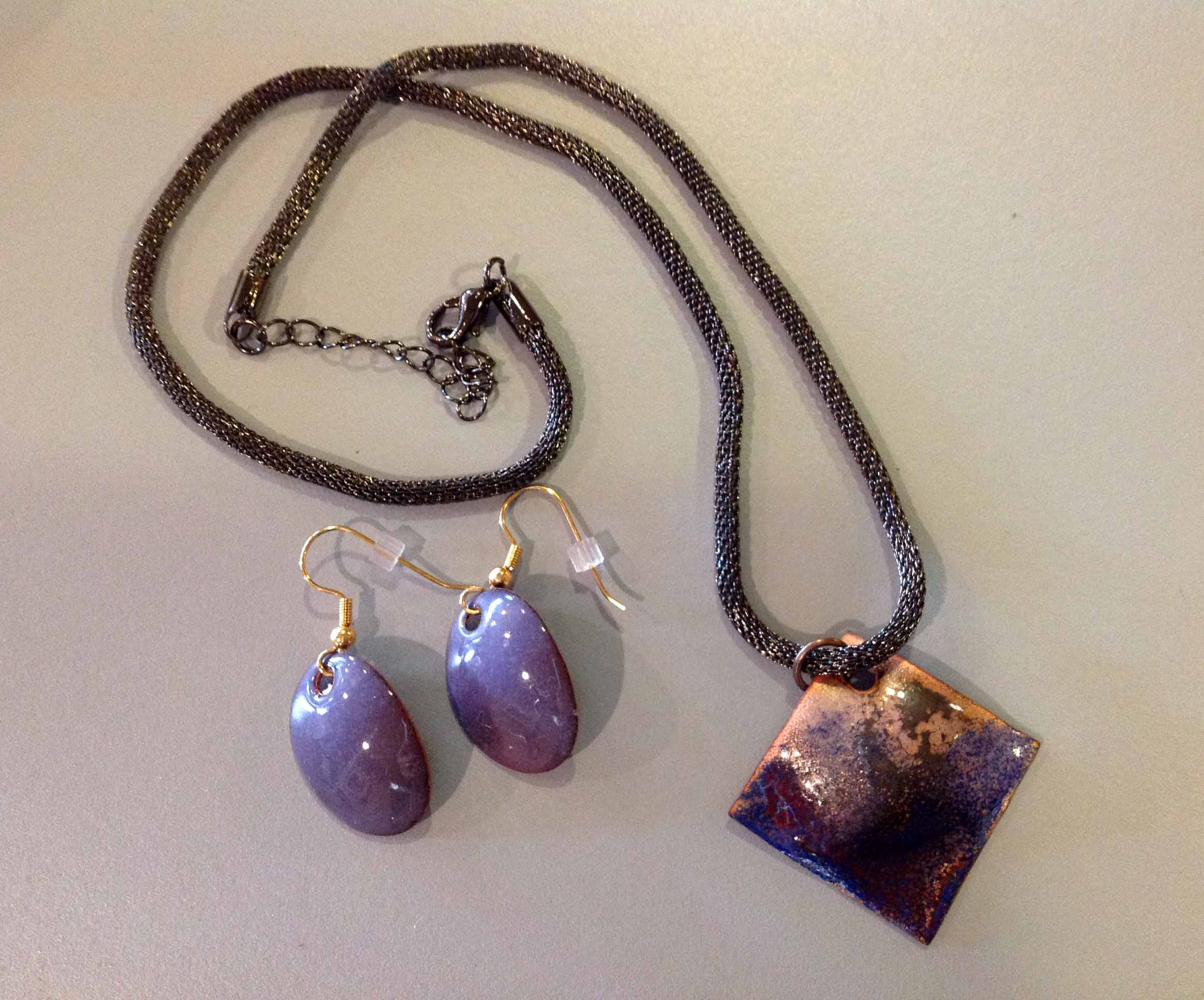 Purple Copper Necklace & Earring Set